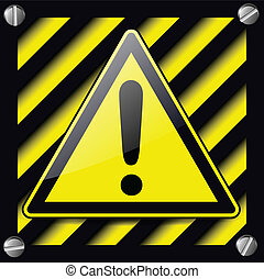 Exclamation danger sign over warning stripes background