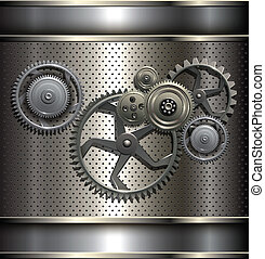 Metallic, technology background with metal gears, vector