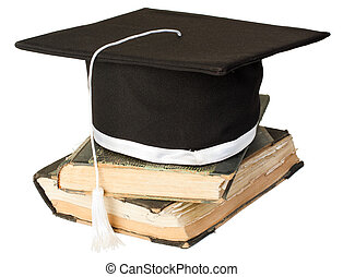Mortar board on a stack of books