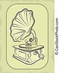 Ancient antiquarian gramophone in a vector