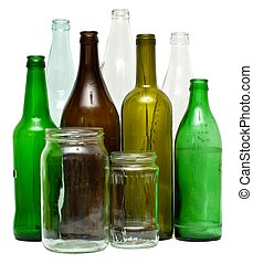 Glass objects - A variety of glass bottles and jars,...