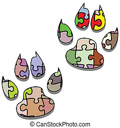 Paw Print-Puzzle - Illustration of animal paw like a jigsaw...