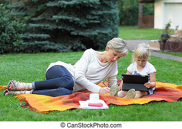 spending time together - mother and daughter spending time...