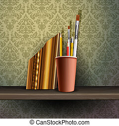 Different art brushes and pencils in flask. - Different art...