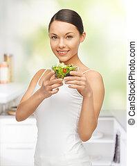 mulher, salada
