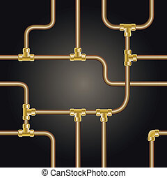 seamless background with brass pipes