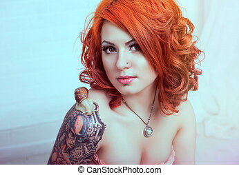Sensual redhead woman - Sensual young woman with red hairs...