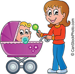Baby carriage theme image 1 - vector illustration