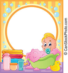 Baby theme frame 3 - vector illustration.