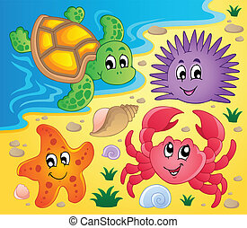 Beach with shells and sea animals 3 - vector illustration.