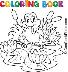 Coloring book river fauna image 2 - vector illustration