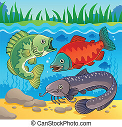 Freshwater fish theme image 3 - vector illustration.