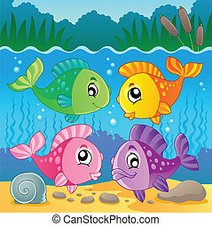 Freshwater fish theme image 7 - vector illustration.