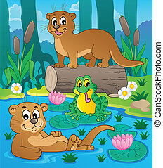 River fauna theme image 3 - vector illustration