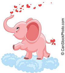 pink baby elephant with hearts