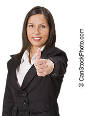 Thumbs-up,left hand - Businesswoman making a characteristic...