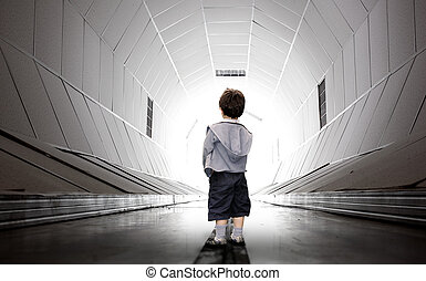 Child walking towards the tunnel - Frightened child walking...