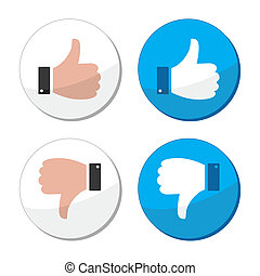 Thumb up and down like vector icon - Round labels with hands...