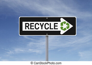 Green Road Sign - A modified one way sign on recycling...