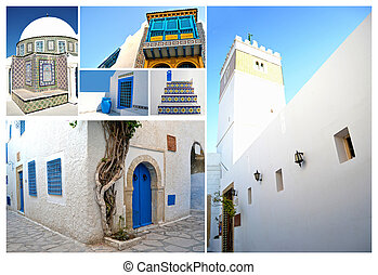 Tunisian architecture with the typical colors, white and...