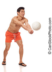 Young Man Playing Volleyball - Young man playing volleyball....