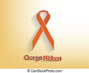 Orange awareness Ribbon on a orange background.