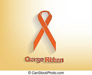 Orange awareness Ribbon on a orange background.