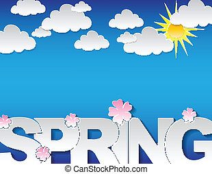 Spring concept background with the text 'spring' and many...