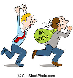 Identity Theft - An image of a thief stealing a tax refund.
