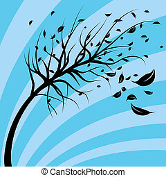 Wind Blown Tree - An image of a tree blowing in the wind.
