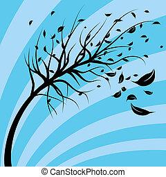 wiatr, Dmuchnięty, drzewo