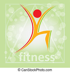 Fitness, aerobic symbol - illustration with abstract...