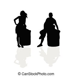 girl and man vector silhouette illustration part two