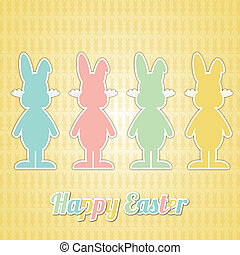 four happy easter bunny colorful yellow background