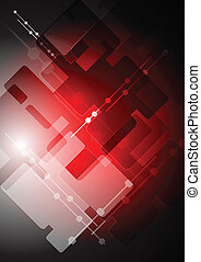Abstract red tech backdrop - Dark red technology background...