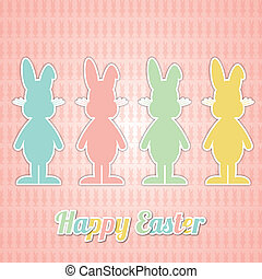 four happy easter bunny colorful pink background