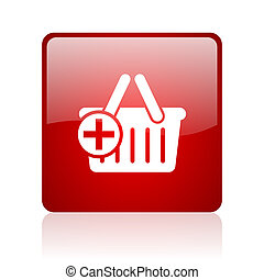 shopping cart red square glossy web icon on white background...