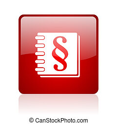 law red square glossy web icon on white background