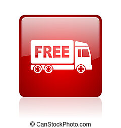 free delivery red square glossy web icon on white background...