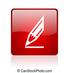 draw red square glossy web icon on white background