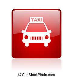 taxi red square glossy web icon on white background