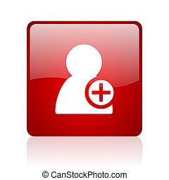 add contact red square glossy web icon on white background