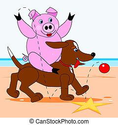 Hog sitting on a dog