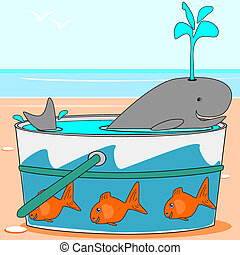 A whale swimming in a pail - A cartoon whale is swimming in...