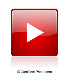 play red square glossy web icon on white background