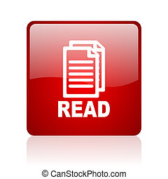 read red square glossy web icon on white background
