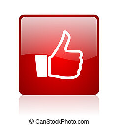 thumb up red square glossy web icon on white background
