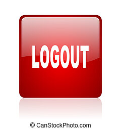 logout red square glossy web icon on white background