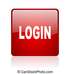 login red square glossy web icon on white background