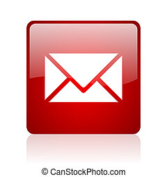 mail red square glossy web icon on white background